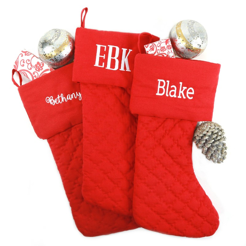 Monogrammed Red Quilted Christmas Stocking