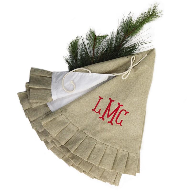 Personalized Burlap Christmas Tree Skirt
