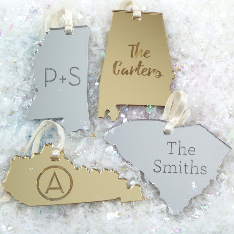 Personalized State Christmas Tree Ornament